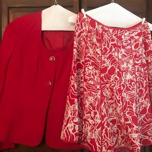 Red and white Chadwick's two pics suit